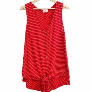Anthropologie t.La sleeveless striped knotted top